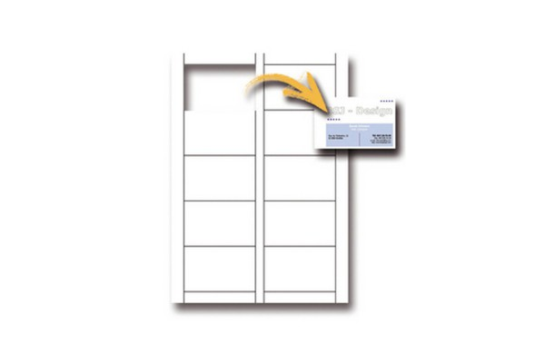 Biglietti da visita - 85 x 54 mm - 200 gr - microperforati - bianco - Decadry - conf. 15 fogli da 10 biglietti
