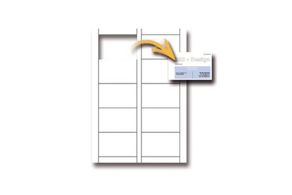 Biglietti da visita - 85 x 54 mm - 250 gr - microperforati - bianco - Decadry - conf. 12 fogli da 10 biglietti