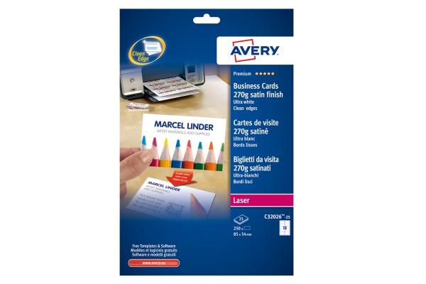 Biglietti da visita - 85 x 54 mm - 270 gr - effetto satinata - bianco - Avery - conf. 25 fogli da 10 biglietti
