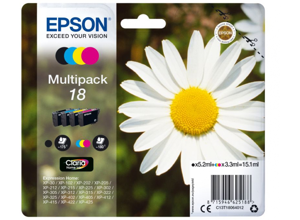 C13T18064012 multipack orig. epson Expression Home XP30 (N+C+M+G)