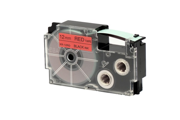 Nastro - 12 mm x 8 mt - nero/rosso - Casio