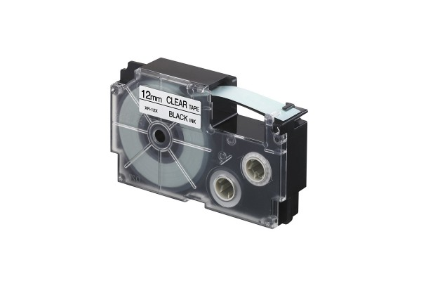 Nastro - 12 mm x 8 mt - nero/ trasparente - Casio
