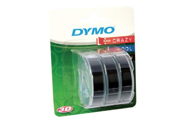 Nastro a rilievo - 9 mm x 3 mt - nero/rosso/blu - Dymo - blister 3 nastri