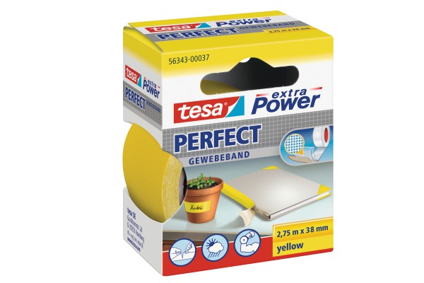Nastro adesivo telato XP Perfect - 38 mm x 2,7 m - giallo -Tesa®