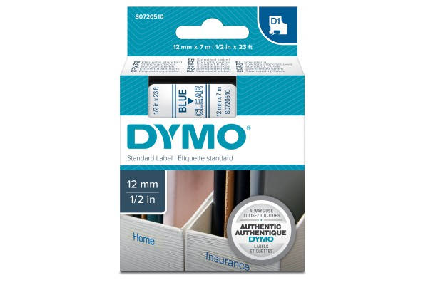 Nastro D1 450110 - 12 mm x 7 mt - blu/trasparente - Dymo